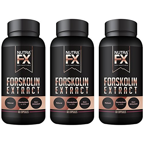 NUTRAFX Pure Forskolin Extract – Best Weight Loss Supplement for Women – Natural Fat Burner NON-GMO Stimulant Free Fat Burner – 180 Capsules (3-Pack)