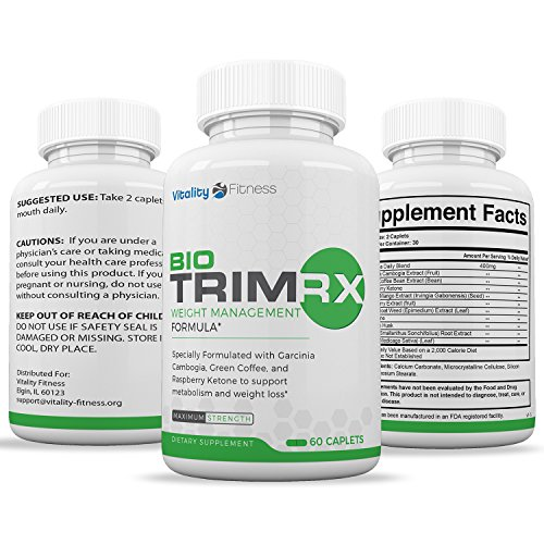 Bio-Trim RX Best Fat Burner & Weight Loss Supplement that Works, Appetite Suppressant & Carb Blocker with Green Coffee Bean, Raspberry Ketone, Acai Berry, Yacon, Green Tea Extract – 60 caplets