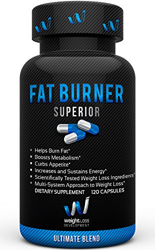 Fat Burner Superior by Weight Loss Development – Thermogenic Belly Fat Loss Supplement Diet Pill, Metabolism Booster – Appetite Suppressant – Garcinia Cambogia – Green Tea – 120 capsules